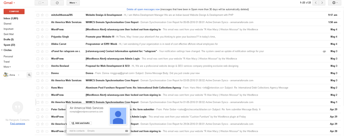 how to add email to spam list in gmail